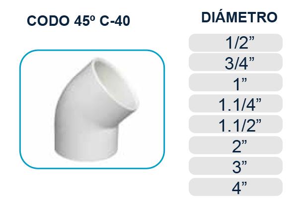 codo-45-pega-rosca-cedula-40-agua-piscina-los-hidros-riobamba-quito-latacunga-ecuador